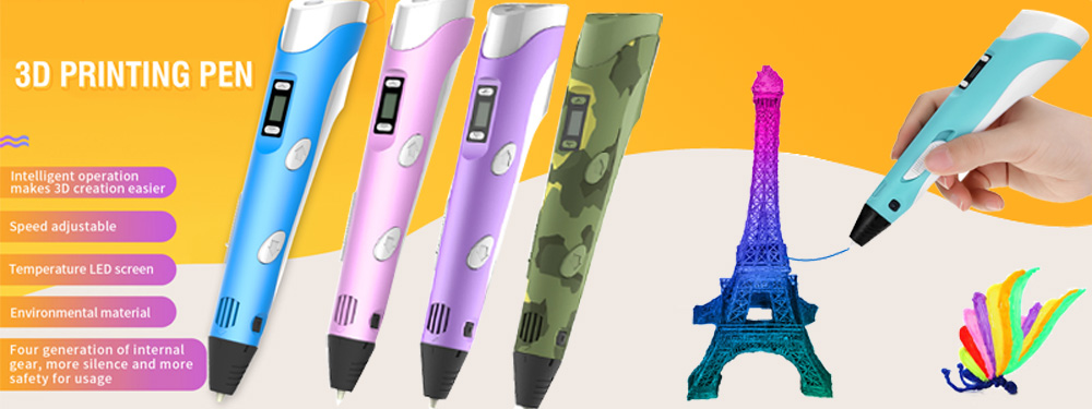 Kids Ручка для 3D-печати Цифровой дисплей Интеллектуальная 3D-ручка Низкотемпературная 3D-ручка для рисования граффити с USB Развивающие игрушки Подарок для мальчика и девочки banner1.jpg